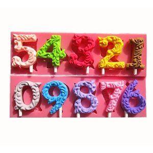 0-9 Number Mold Fondant Chocolate Lollipops